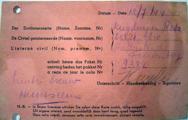 Pic 2: Rosa`s post card to Red Cross, Ravensbruke concentration camp, 1944